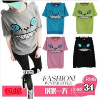 Free Shipping 2013 spring and summer loose women's HARAJUKU  cat demon short-sleeve T-shirt plus size