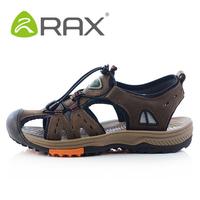 Rax Summer Men Sandals Cow Leahter  (Homens Sandalias)Breathable Ultra-light Walking Outdoor Shoes EUR:39-44 Brown/Dark Brown