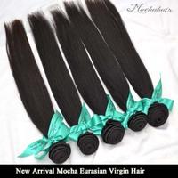 "New Arrival Mocha Hair Virgin Eurasian Hair Mix 3pcs/lot 12""-28"", Straight Hair Extensions Remy Hair Weave Natural Color"