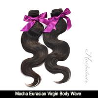 "New Arrival Mocha Hair Extensions 3pcs/lot 12""-34"" Eurasian Virgin Hair Unprocessed  Body Wave Natural Color"