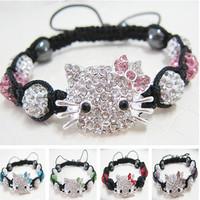 Fashion Crystal Jewelry Hello Kitty KT Shamballa Beads Bracelets Bangles For Men And Women Free Shipping Wholesale 10pcs/lot