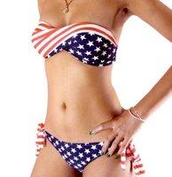 2013 new style Free shipping USA flag Sexy women Halter Bra with lycra print Padded boho dolly bikini Swimwear swimsuit S M L
