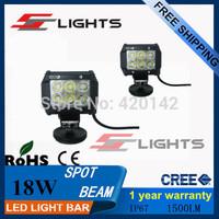2PCS  4 INCH 18W CREE LED LIGHT BAR SPOT FOG LIGHT FOR  BOAT  LED WORK BAR LIGHT LED CAR DAYTIME RUNNING LIGHT  IP67