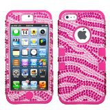 Zebra Skin (Pink/Hot Pink) Diamante Hot Pink TUFF Hybrid Phone Protector Cover for  iPhone 5-10 pcs