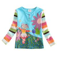 FREE SHIPPING F1005# 18m/6y 5piece/lot beautiful and happy girl embroidery spring / autumn  long sleeve T-shirt for girl