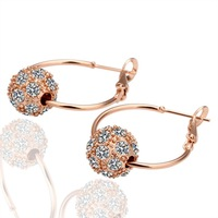 18K Rose Gold Plated Inlaid Crystal Earring High Quality Fashion Jewelry Wholesale Free Shipping 18KGP E009