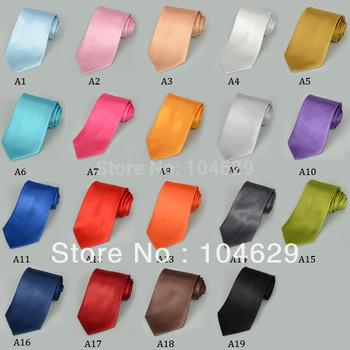 2PCS Fashion Solid Color Men's Tie Necktie Classic Solid Plain Neck Tie Set H0066 T