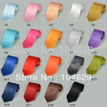 2PCS Fashion Solid Color Men's Tie Necktie Classic Solid Plain Neck Tie Set H0066