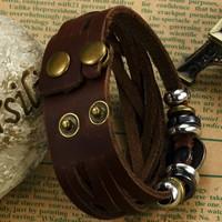 Hot Men's Genuine Leather Bracelet Adjustable Size Rock Style Men Jewelry Bracelets & Bangles