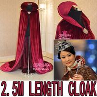 2.5 meter length queen cloak princess cloak  beauty pageant winner cloak etiquette flannel material mpf-006