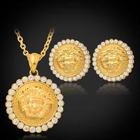 New Hot Medusa Lion Head Pendant Earrings 18K Gold Plated Austrian Rhinestone Vintage Jewelry Sets Lion Head Jewelry MGC PE702
