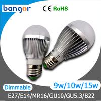 Free Shipping High Power AC85-265V E27 3W/4W5W/9W/10/12W/15W Gold/ Sliver Shell LED Bulb Light 1pcs/Lot Warn White / Cool white