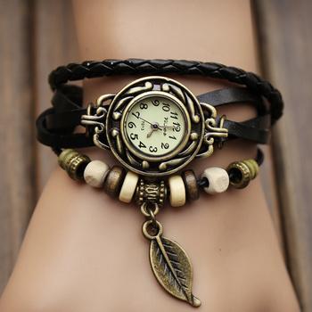 relogio feminino Original High Quality Women Genuine Leather Vintage Watches Bracelet Wristwatches Leaves Pendant Dress Watches