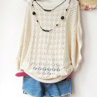 New Ladies' Loose Thin Cutout Batwing Sleeve Air Conditioning Blouse Pullover Sweater Summer Autumn B0001