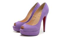 elegant pure color peep toe genuine leather highheels