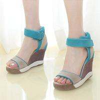 Ash candy color scrub shoes genuine leather wedges sandals platform shoes platform casual shoes sandals