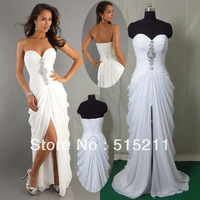 Real Photo Sexy Strapless Sweetheart Sheath Column High Slit White Chiffon Long Prom Evening Dress Party Gowns 2013 New Arrival