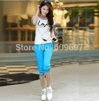 Plus Size L-5XL(bust 127cm) Casual Set Female 2014 New Summer Spring Fashion Sportswear Sets Women's Clothing xxxl xxxxl xxxxxl