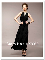 Fashion Elegant Neck Ring Decorate V-nack Prom Dresses  T0001 Free Shipping