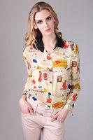 2013  fashion spring print pattern peter pan collar slim silk shirts women's long-sleeve blouses 0025
