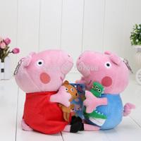 10pcs/lot 15cm Cute Peppa Pig With Teddy Stuffed Plush Doll Toy