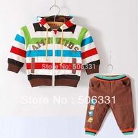 Retail hot Baby 2-piecesuits sets children Rainbow colors suits sets striped hoody sweatshirt + pants Boys' Suit