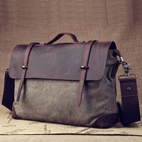 2014 For Men Genuine Leather Messenger Bag Sac Vintage Bolsos Canvas Shoulder Crossbody Handbag Bolsa Couro Messenger-Bag S210
