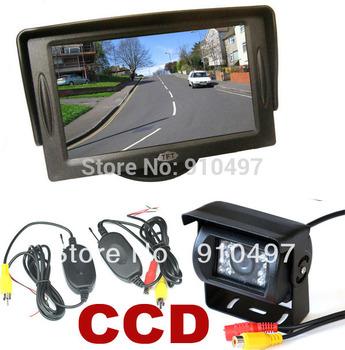 "30pcs DHL FREE  Wireless CCD 18 IR LED Backup Reversing Camera + 4.3"" LCD Monitor Car Rear View Kit"