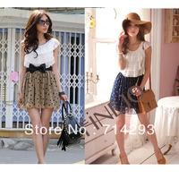 2 colors 2014 Women's Fashion Trendy Korean Lace Chiffon Mini Dress Polka dot Outfit Drop shipping 3803