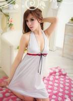 2013 New Sex Women Sleepwear White Dress Babydoll Night Lingerie With a tie on chest Free Shipping (Dress+Underwear)