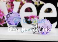 8Pcs/Lot 30mm Glass Crystal Round Cabinet Knob Drawer Pull Handle Kitchen Door Wardrobe Hardware Purple TK0737