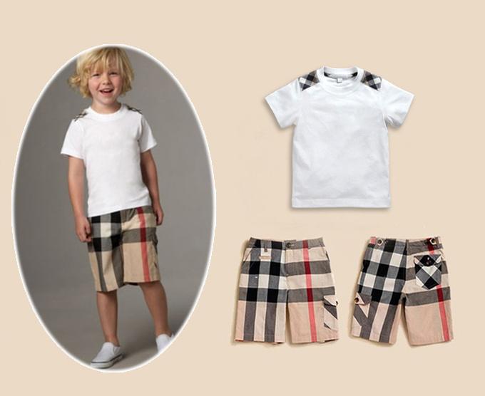 2014 news Summer baby boys clothing set boys 2pcs Suit shirts + shorts children clothing set clothes baby boy summer(China (Mainland))