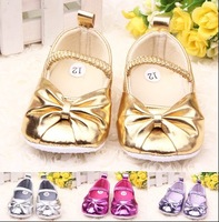 Factory baby girl shoes size11-13 fashion baby golden shoes soft leather baby shoes first walker 6pair/lot free shipping