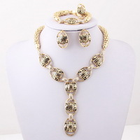 Free Shipping ,African Wedding Bridal Accessories Nekclace Sets Vintage Classic Crystal Rhiestone 18k Gold Plated Jewelry Sets