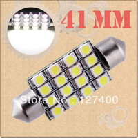 DHL Free shipping 100pcs 41mm 16 SMD Pure White Dome Festoon 16 LED Car Light Bulb Lamp