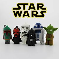 Retail Cartoon Star Wars Darth Vader Yoda USB Flash Drive Pendrive Memory Stick Pen Drive 4GB 8GB 16GB 32GB 64GB Free Shipping