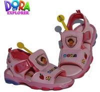 2014 New Summer Children Beach Shoes For Kids Girls Dora Brand Designer Flashing Light Kid Girl Sandal Girls' Sandals