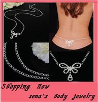 Free shipping,Sexy Glittery Rhinestone Gem Set Butterfly body jewelry Belly Waist belly body Chain for dance