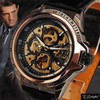 SEWOR Brand Men Fashion Luxury Golden skeleton Automatic Self-Wind Wrist watch Men Leather Strap watch