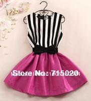 Free shipping women summer rose/ fleabane dress of empire vest striped mini dress with belt