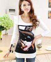 Free Shipping 2014 Autumn Women's Autumn PersonalizedPrint t-Shirt Long-Sleeve Sweater 1156