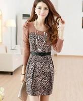 Free Shipping 2014 Autumn Women's Autumn Faux Two Piece Leopard Print Knitted Long-Sleeve Dress Belt  1160