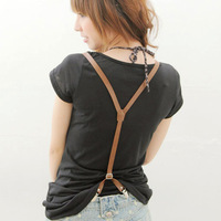hot-selling pu leather suspenders for clip women folder front and back folder fashion suspensa