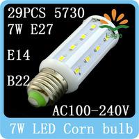 E27 E14 B22 7W 5730 led Corn bulb  AC100-240V  White Warm Cool White lamps contemporary lighting 1pcs/lot