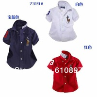 2013New polo Private label shirt  The lapel short-sleeved shirt baby garments  white  sapphire blue red  1pcs/lot  Free shipping