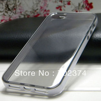 For iphone 4 4S clear crystal case top quality soft TPU material + hard PC 2in1 fashion design, 100pcs a lot DHL free shipping