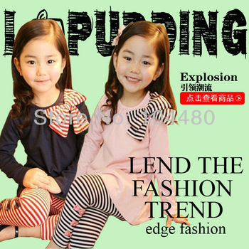fashion 2013 children clothing set lovely kids girls o-neck bowknot full t-shirt + striped leggings child toddler twinsets