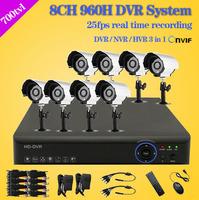 700TVL Surveillance CCTV System 8ch Full 960h D1 wifi DVR 8pcs outdoor IR Cut Camera video Surveillance System 8 channel DVR Kit