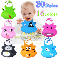 free shipping 10pcs/lot zoo bibs for babies silicone baby bibs waterproof designs for baby boy girl