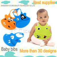 free shipping 2pcs/lot silicone kids bib waterproof baby bib animal designs best promotinal eating gift for babies